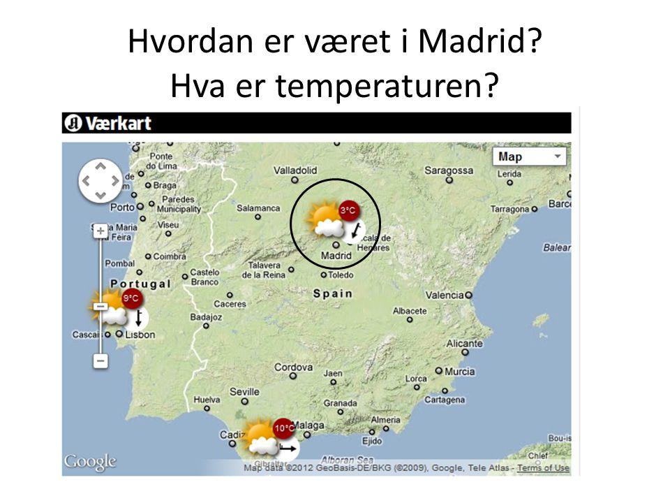 Hvordan er været i Madrid Hva er temperaturen