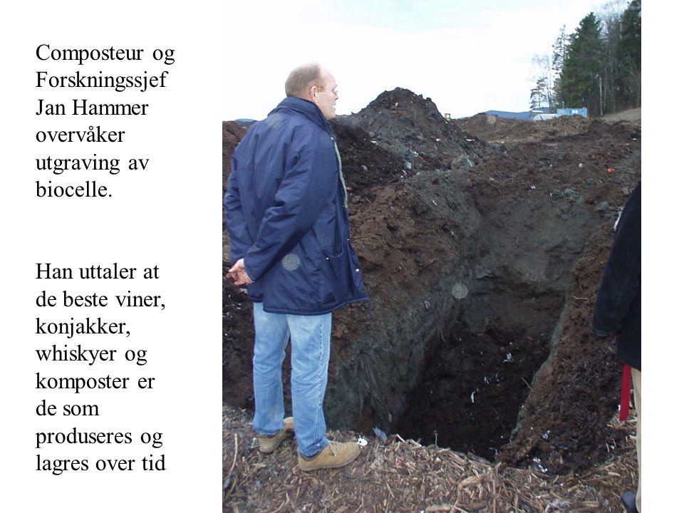 Composteur og Forskningssjef Jan Hammer overvåker utgraving av biocelle.