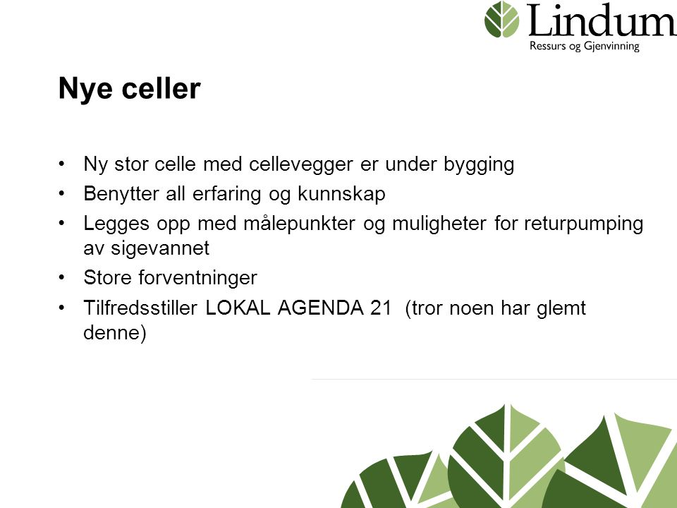 Nye celler Ny stor celle med cellevegger er under bygging