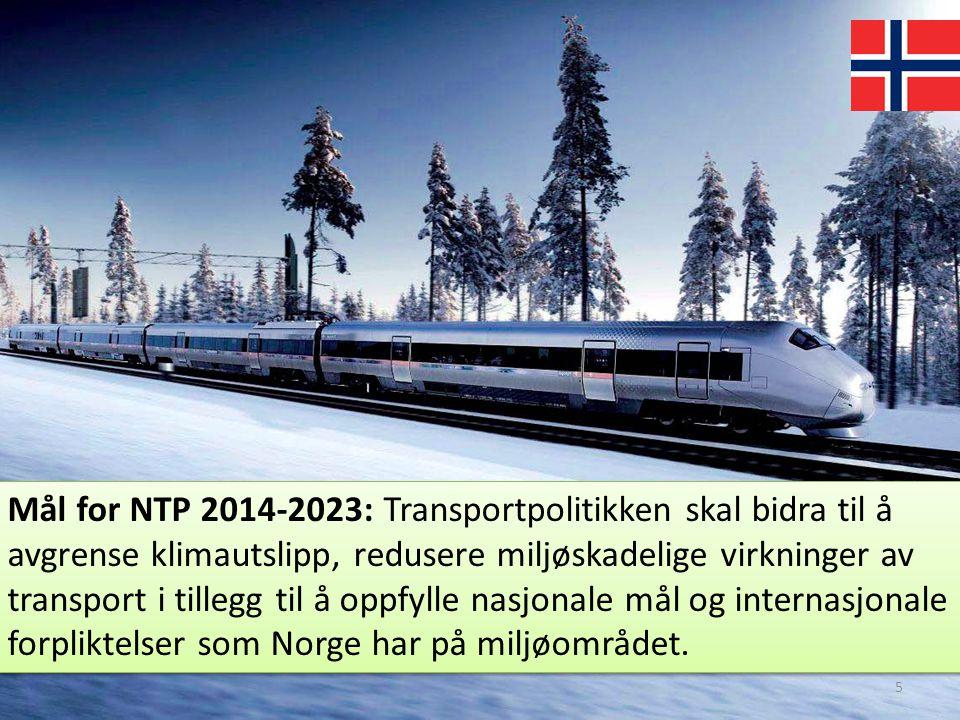Mål for NTP 2014-2023: Transportpolitikken skal bidra til å avgrense klimautslipp, redusere miljøskadelige virkninger av transport i tillegg til å oppfylle nasjonale mål og internasjonale forpliktelser som Norge har på miljøområdet.