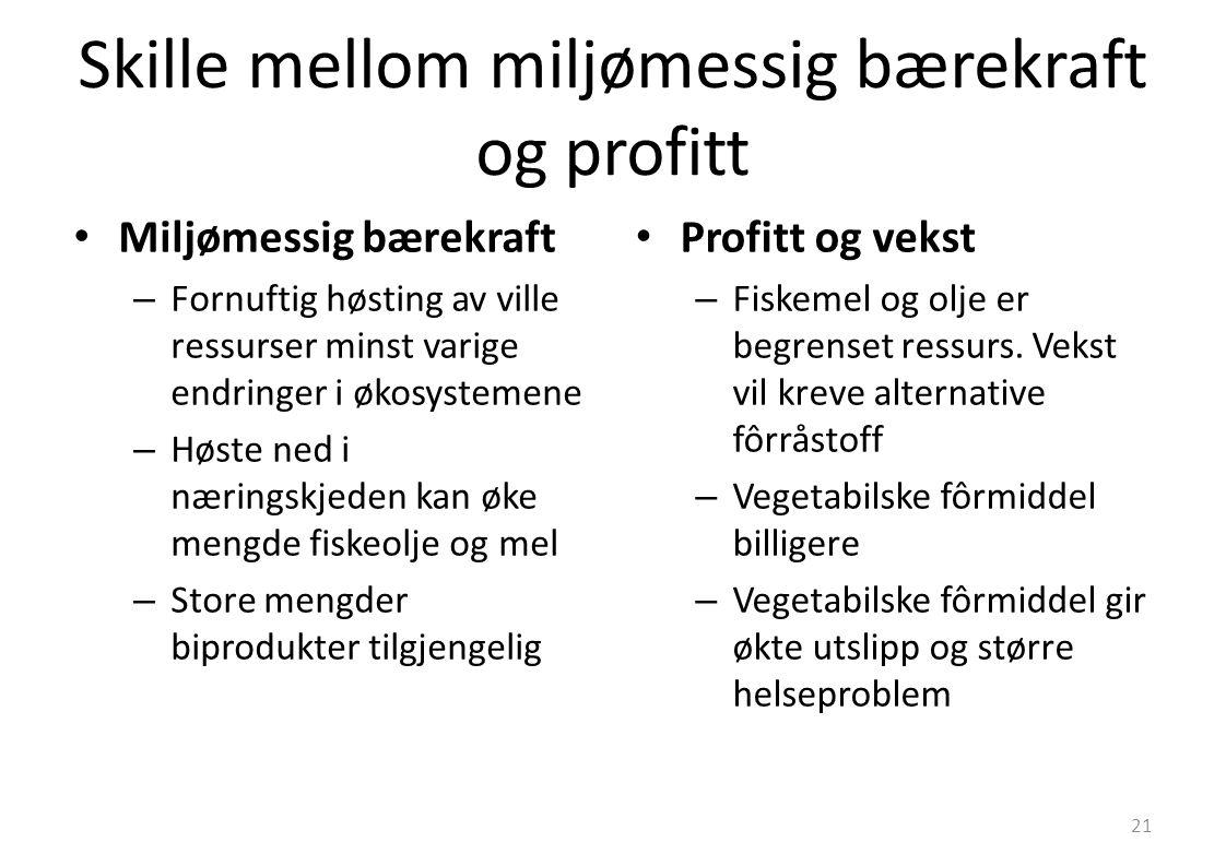 Skille mellom miljømessig bærekraft og profitt