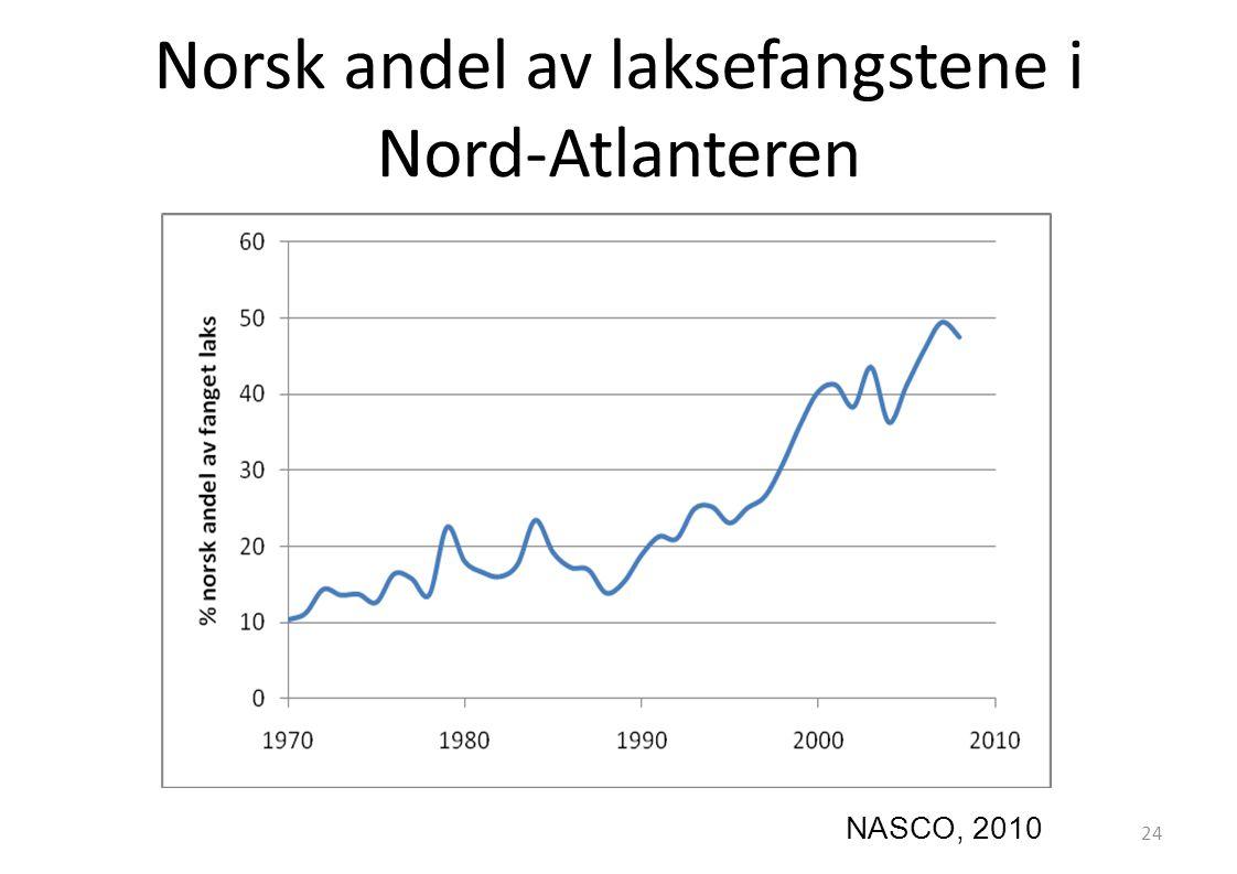 Norsk andel av laksefangstene i Nord-Atlanteren