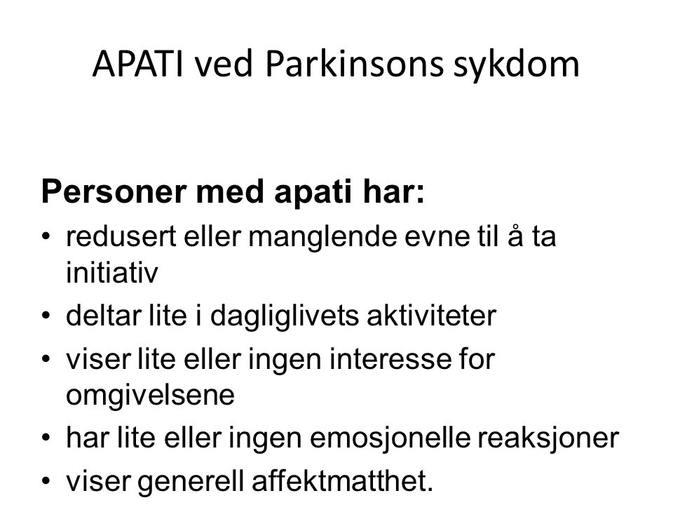 APATI ved Parkinsons sykdom