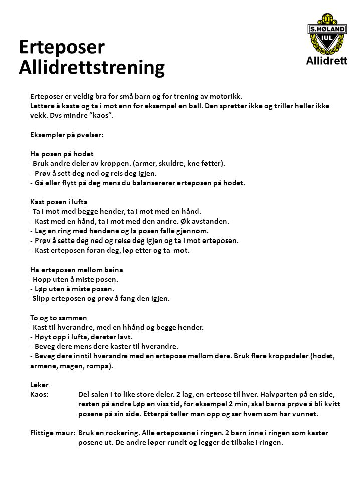 Erteposer Allidrettstrening
