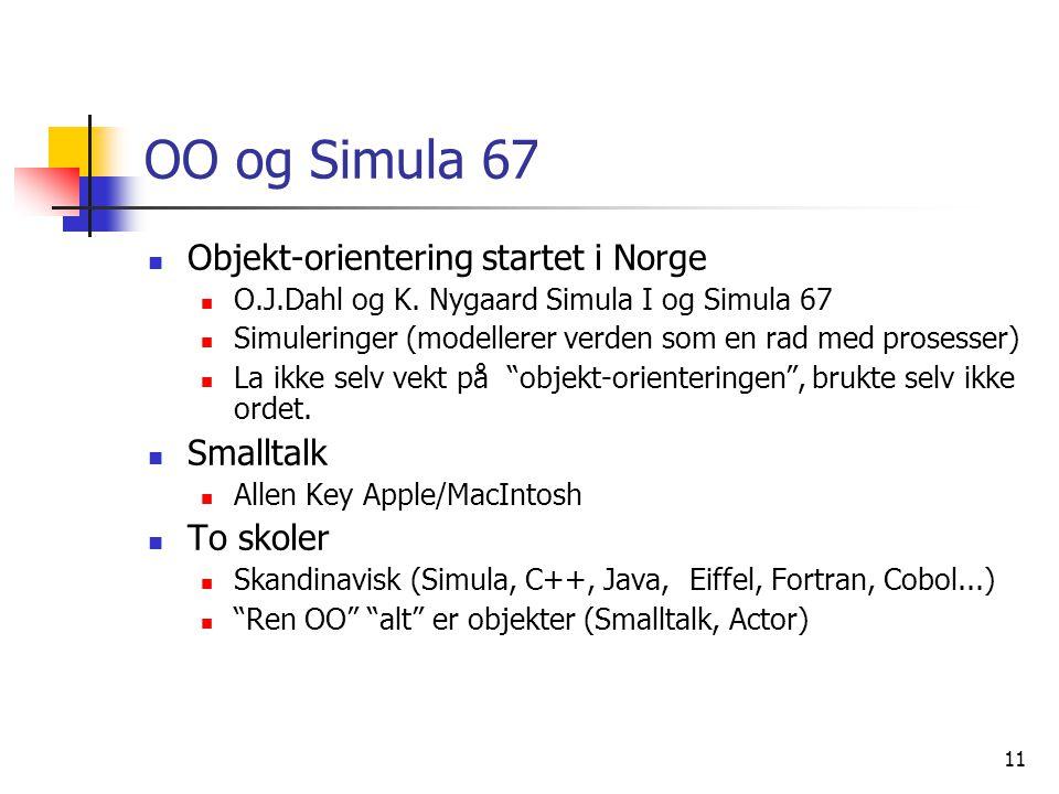 OO og Simula 67 Objekt-orientering startet i Norge Smalltalk To skoler