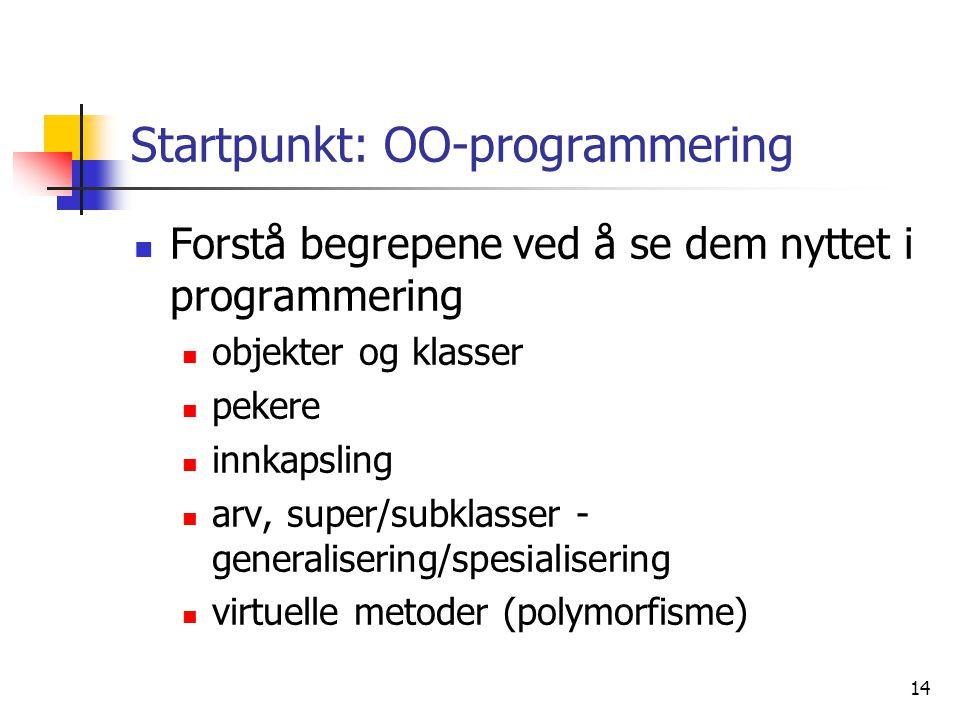 Startpunkt: OO-programmering