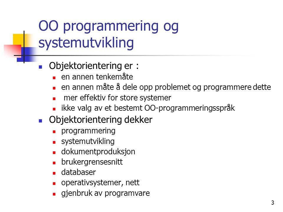 OO programmering og systemutvikling