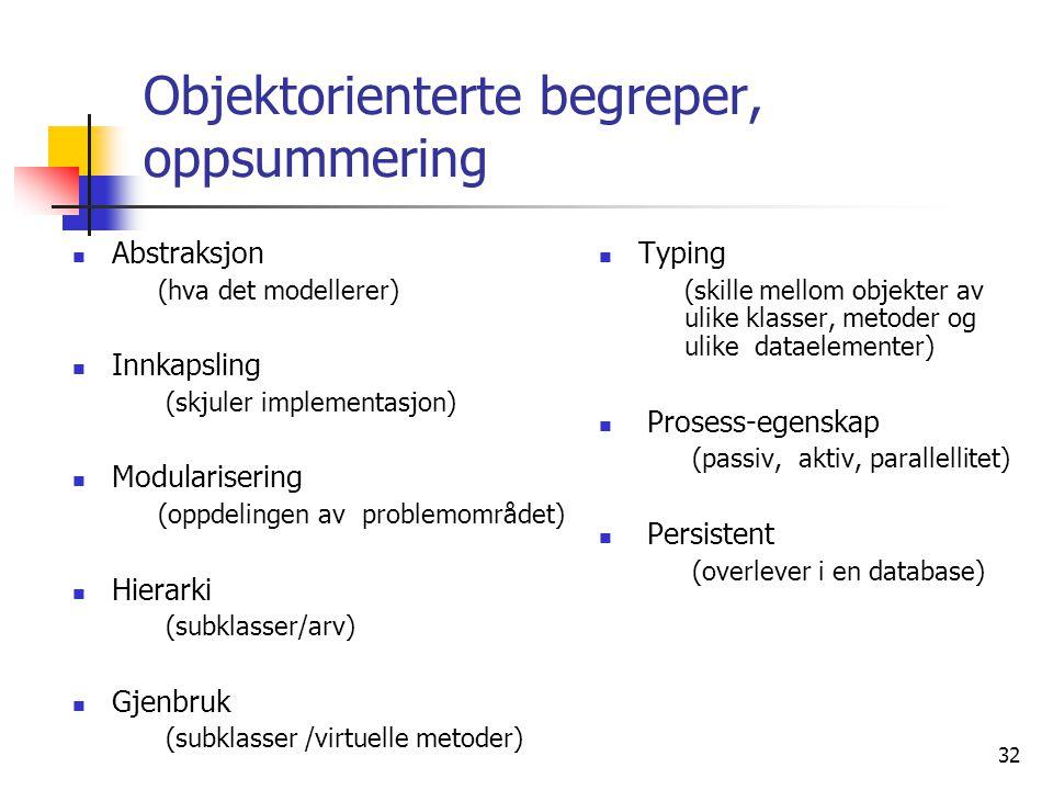 Objektorienterte begreper, oppsummering