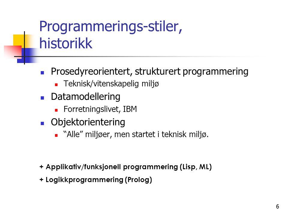 Programmerings-stiler, historikk