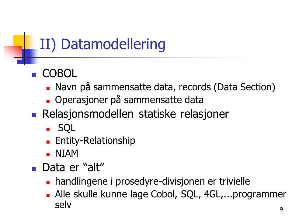 II) Datamodellering COBOL Relasjonsmodellen statiske relasjoner