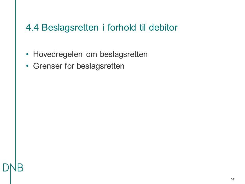 4.4 Beslagsretten i forhold til debitor