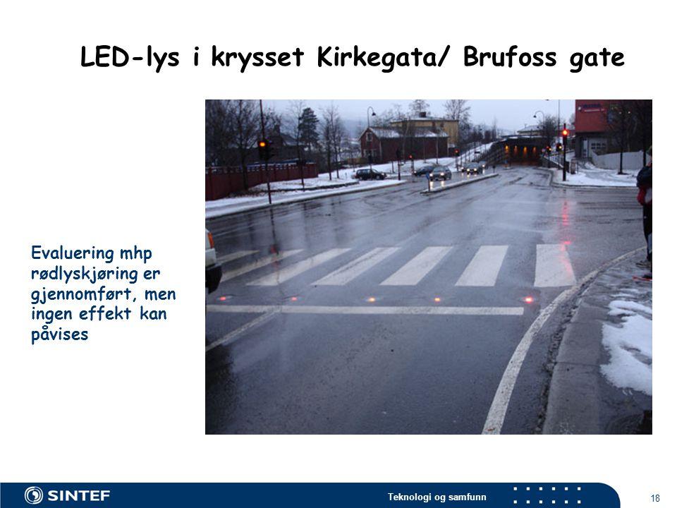 LED-lys i krysset Kirkegata/ Brufoss gate