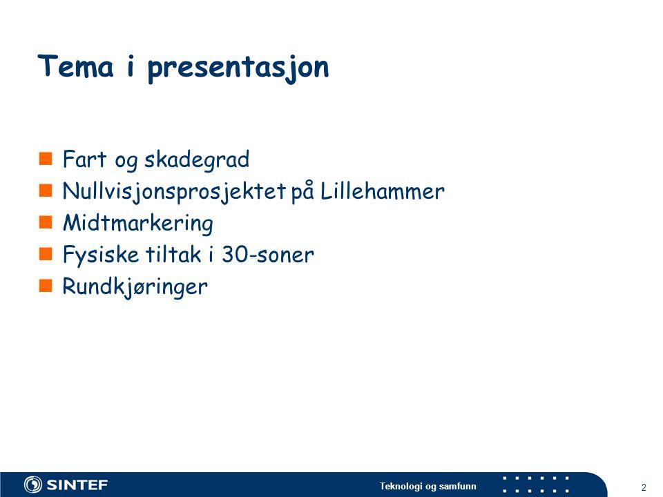 Tema i presentasjon Fart og skadegrad