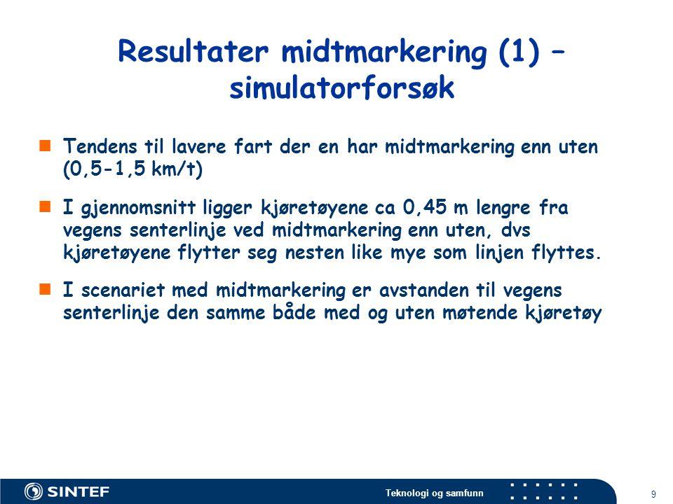 Resultater midtmarkering (1) – simulatorforsøk