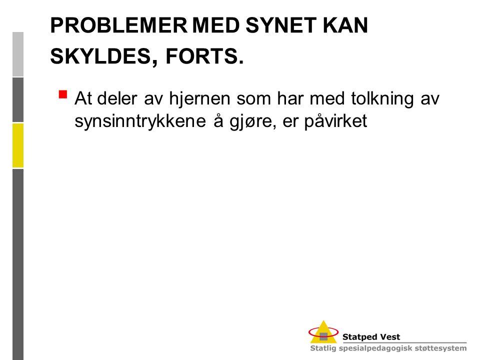 PROBLEMER MED SYNET KAN SKYLDES, FORTS.