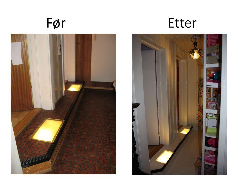 Før Etter Malt gulv, dører og vegger Beholt lampe.