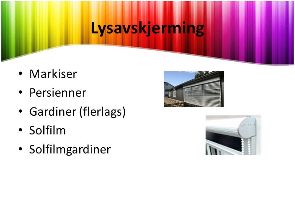 Lysavskjerming Markiser Persienner Gardiner (flerlags) Solfilm
