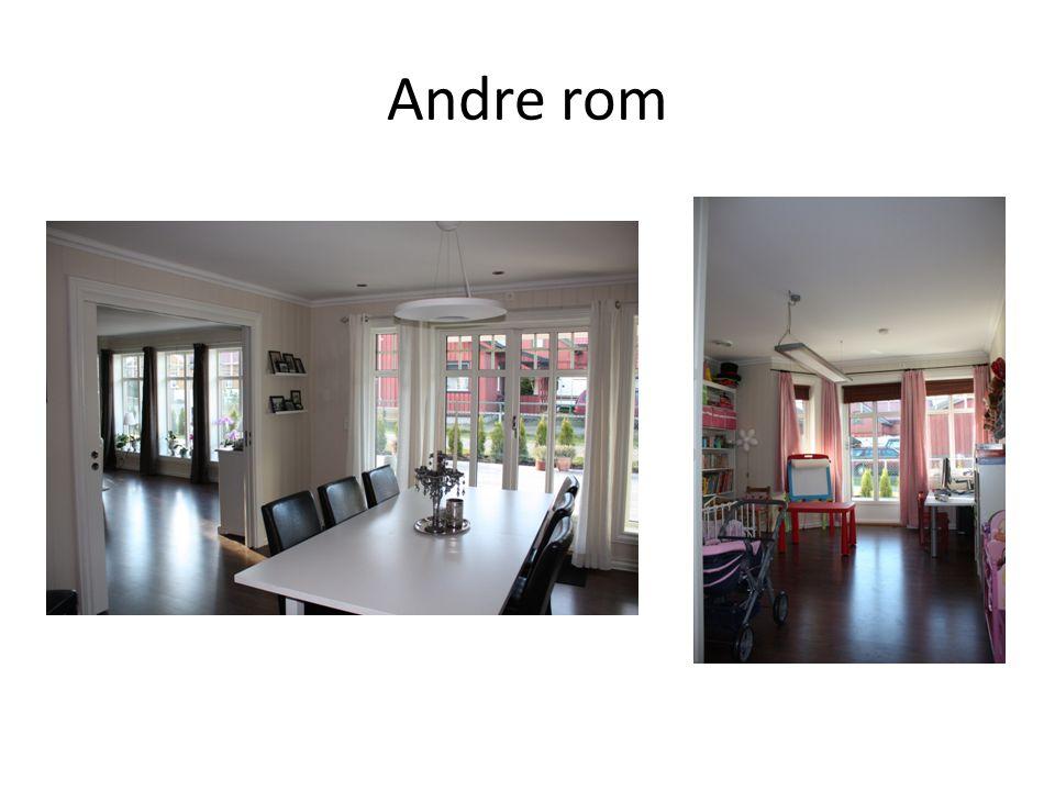 Andre rom Valgte samme nedhengte lampe i stue og kjøkken for å få helhet. Indirekte + direkte. Flesibelt annlegg.