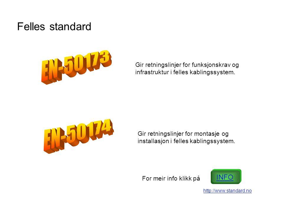 EN-50173 EN-50174 Felles standard INFO