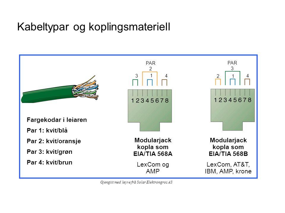 Kabeltypar og koplingsmateriell