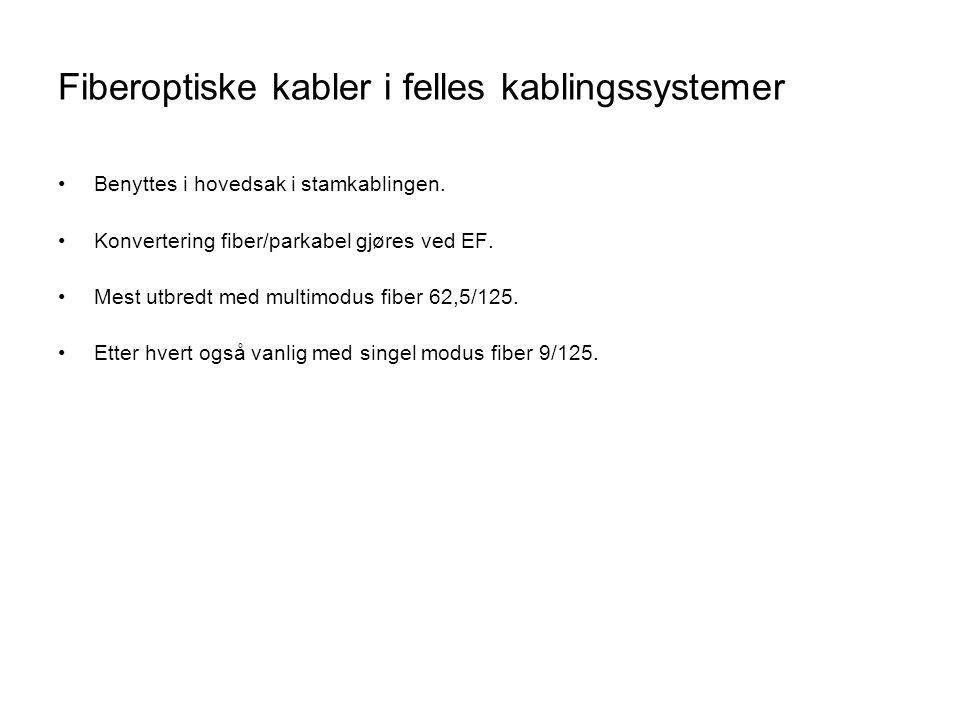 Fiberoptiske kabler i felles kablingssystemer
