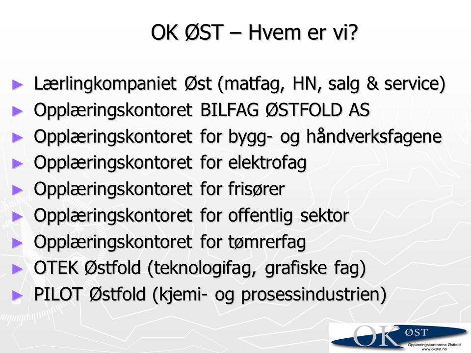 OK ØST – Hvem er vi Lærlingkompaniet Øst (matfag, HN, salg & service)