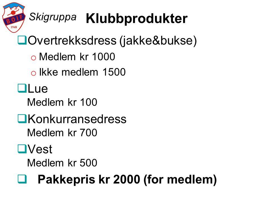 Klubbprodukter Overtrekksdress (jakke&bukse) Lue Medlem kr 100