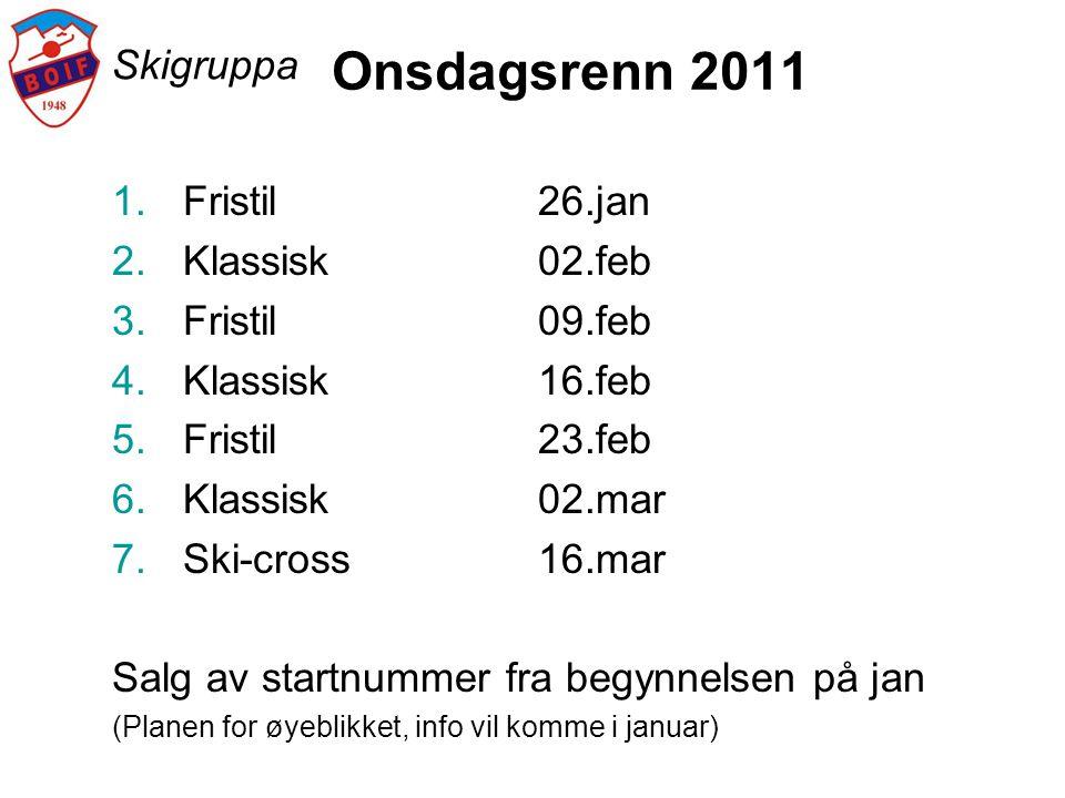 Onsdagsrenn 2011 Skigruppa Fristil 26.jan Klassisk 02.feb