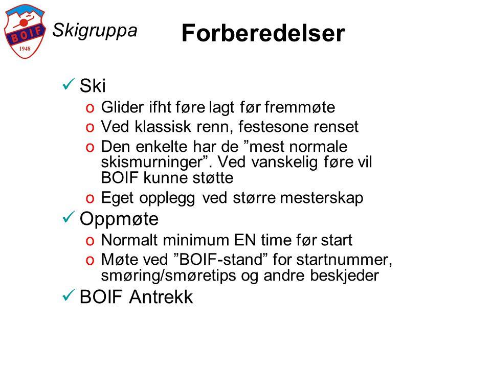 Forberedelser Skigruppa Ski Oppmøte BOIF Antrekk