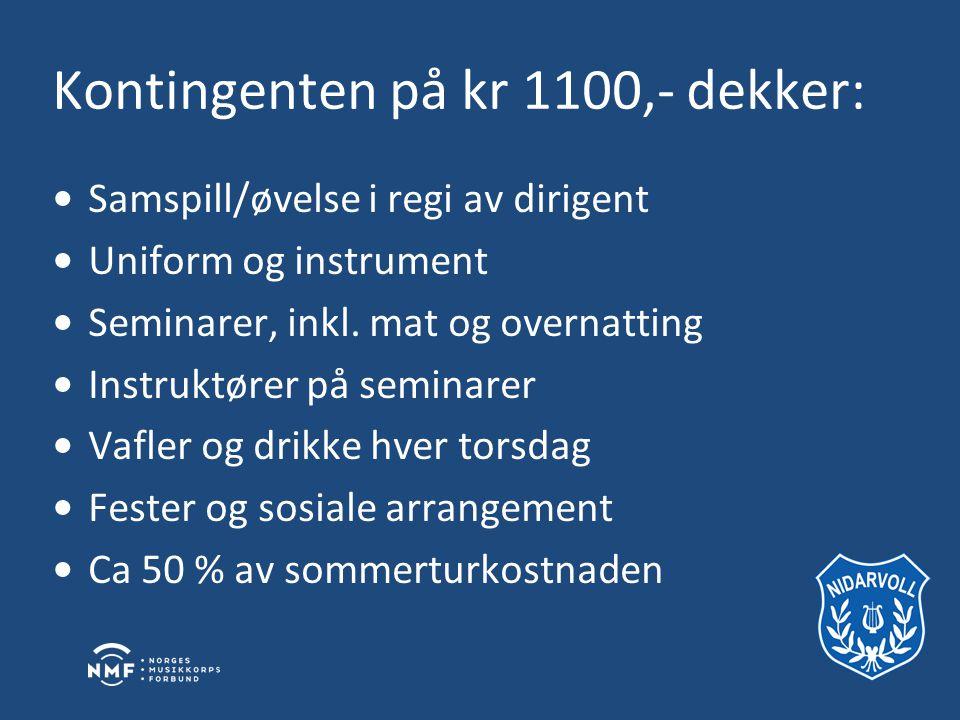 Kontingenten på kr 1100,- dekker: