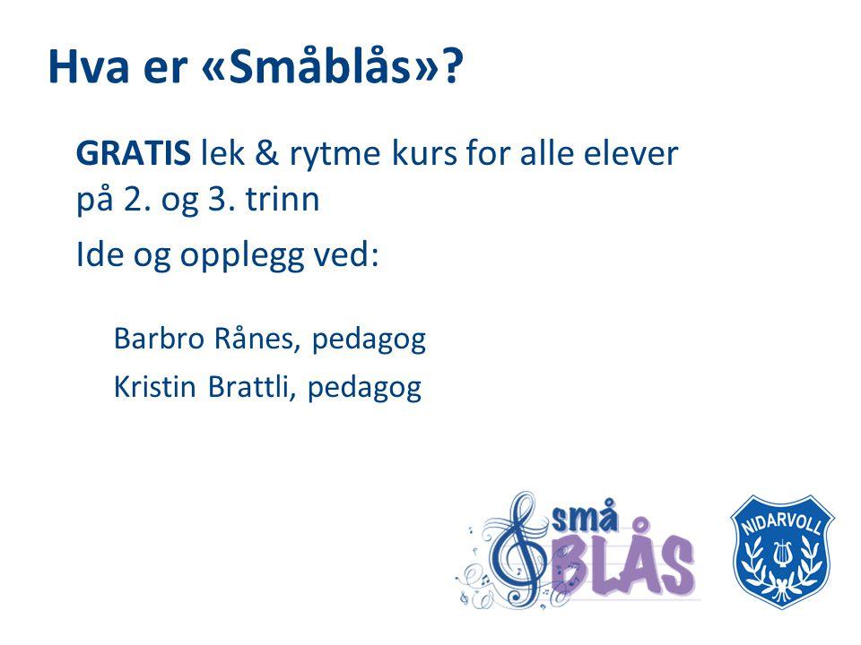 Hva er «Småblås» GRATIS lek & rytme kurs for alle elever på 2. og 3. trinn. Ide og opplegg ved: Barbro Rånes, pedagog.