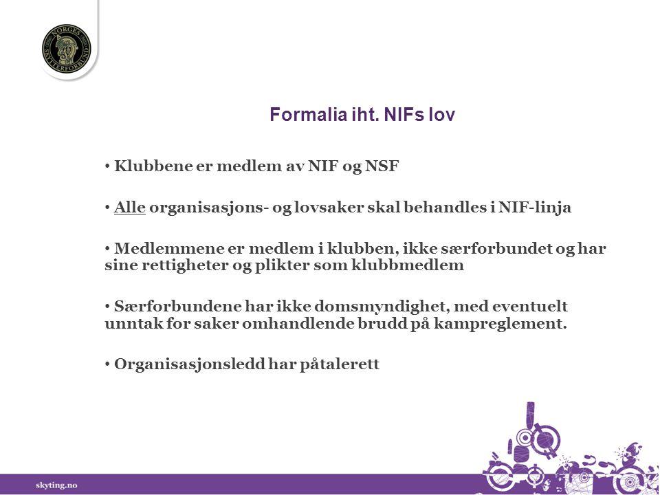 Formalia iht. NIFs lov Klubbene er medlem av NIF og NSF