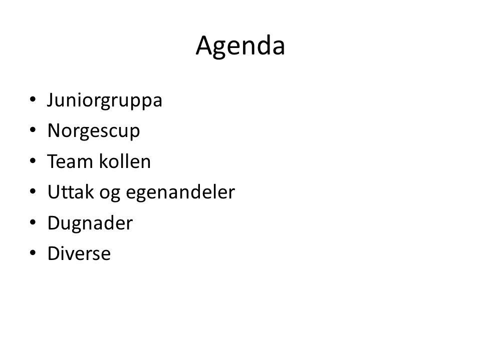 Agenda Juniorgruppa Norgescup Team kollen Uttak og egenandeler