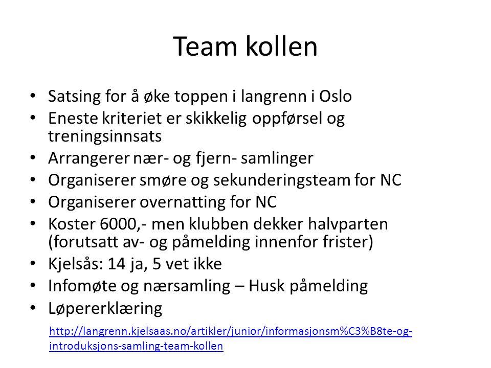 Team kollen Satsing for å øke toppen i langrenn i Oslo