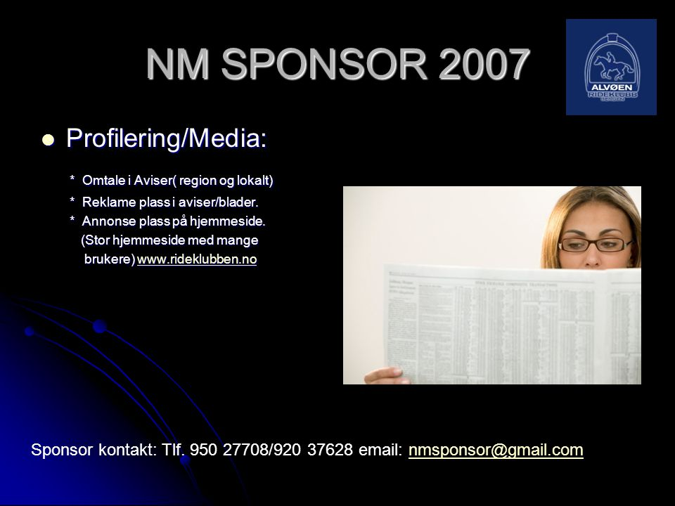 NM SPONSOR 2007 Profilering/Media: