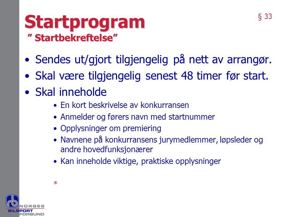 Startprogram Startbekreftelse