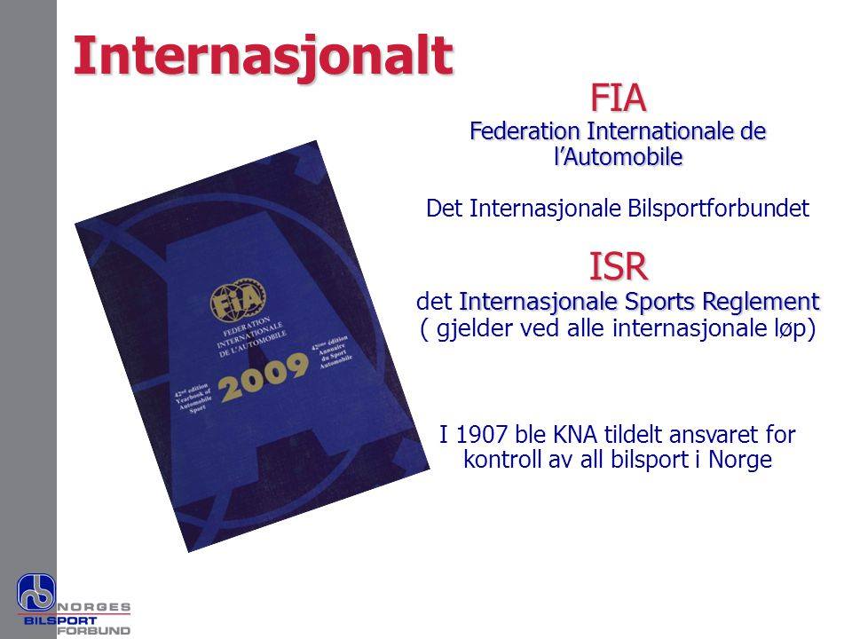 Internasjonalt FIA ISR det Internasjonale Sports Reglement