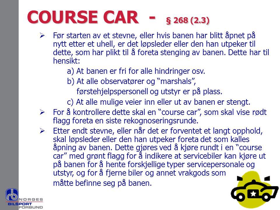 COURSE CAR - § 268 (2.3)