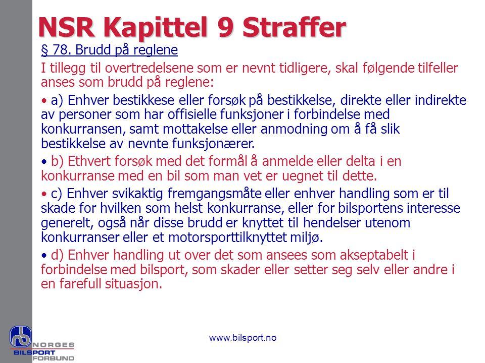 NSR Kapittel 9 Straffer § 78. Brudd på reglene