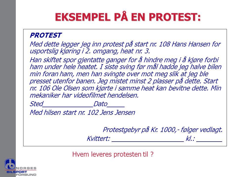EKSEMPEL PÅ EN PROTEST: