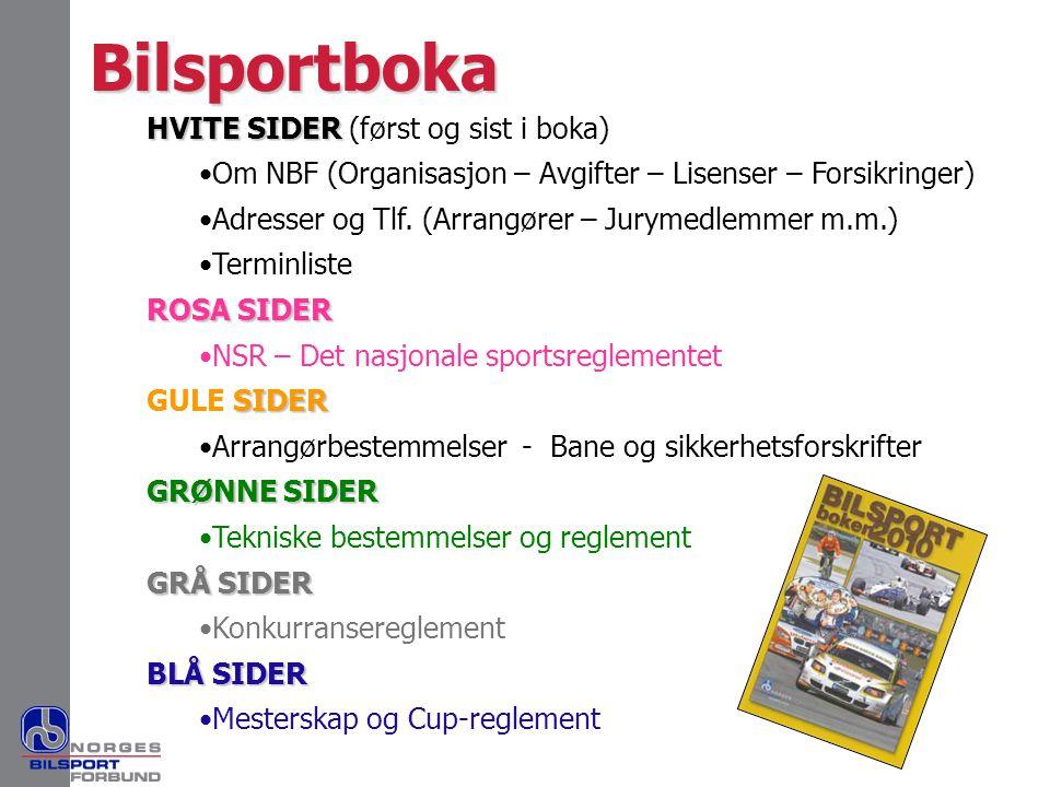 Bilsportboka HVITE SIDER (først og sist i boka)