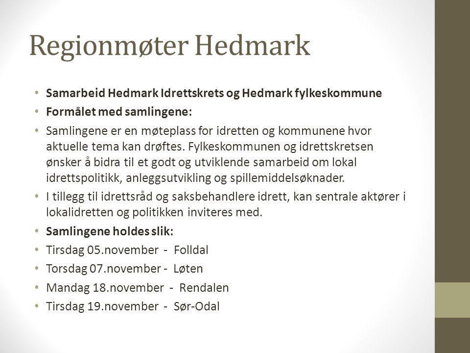 Regionmøter Hedmark Samarbeid Hedmark Idrettskrets og Hedmark fylkeskommune. Formålet med samlingene: