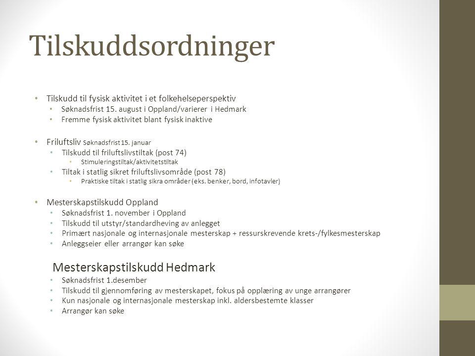Tilskuddsordninger Mesterskapstilskudd Hedmark