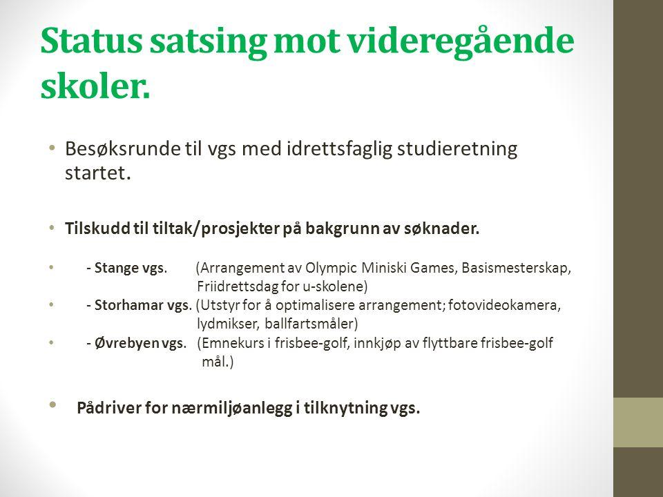 Status satsing mot videregående skoler.