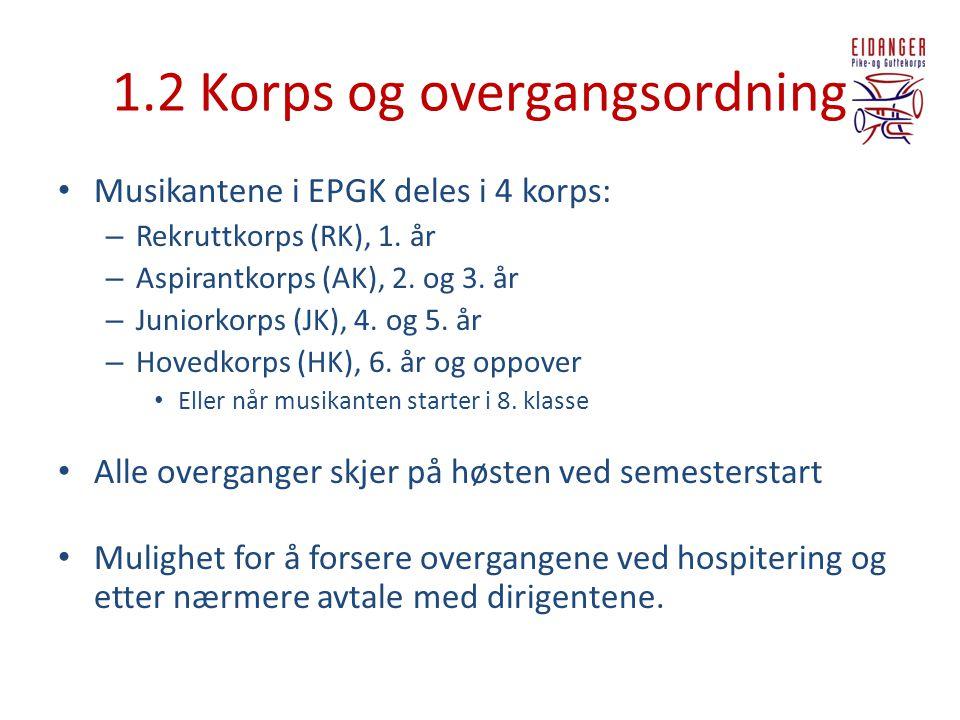1.2 Korps og overgangsordning
