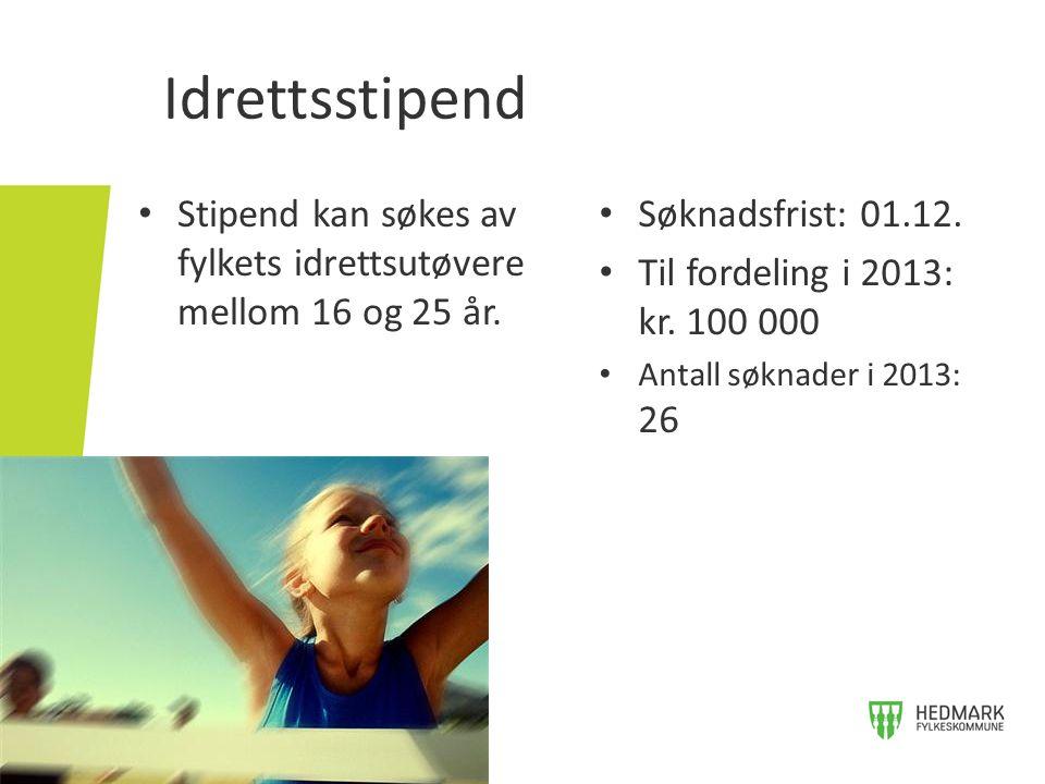 Idrettsstipend Stipend kan søkes av fylkets idrettsutøvere mellom 16 og 25 år. Søknadsfrist: 01.12.