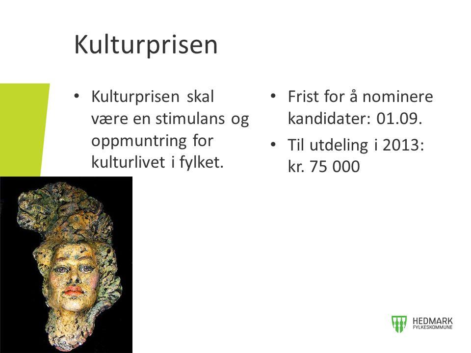 Kulturprisen Kulturprisen skal være en stimulans og oppmuntring for kulturlivet i fylket. Frist for å nominere kandidater: 01.09.