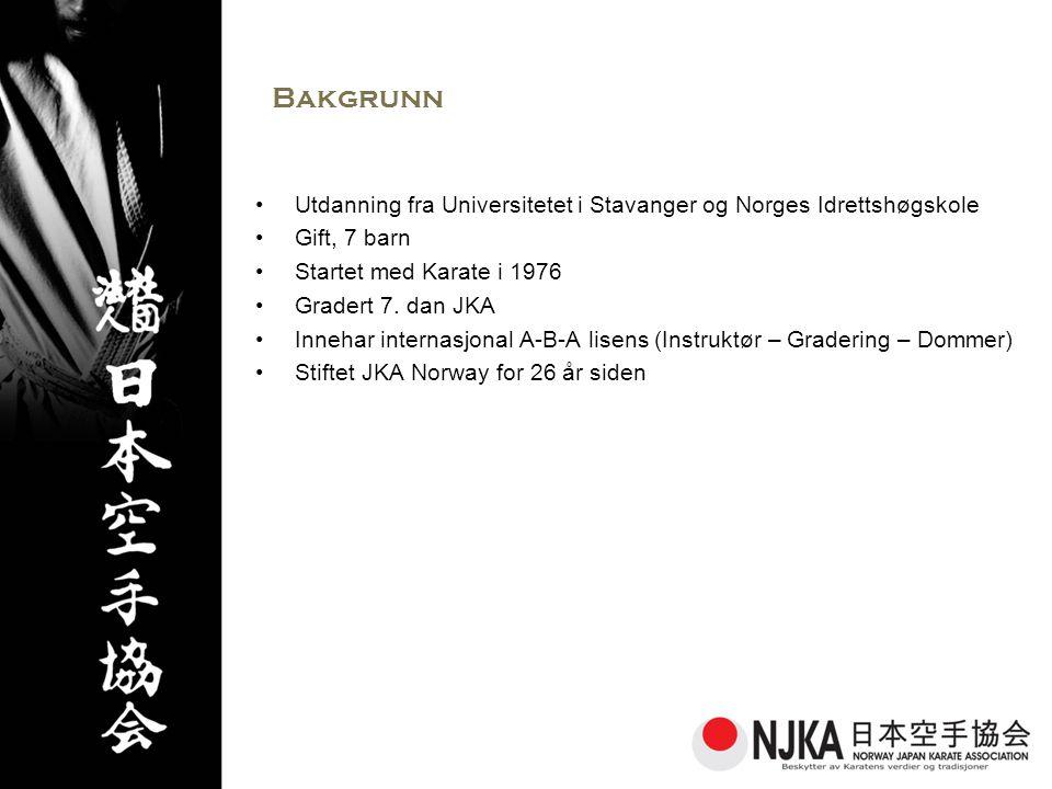 Bakgrunn Utdanning fra Universitetet i Stavanger og Norges Idrettshøgskole. Gift, 7 barn. Startet med Karate i 1976.