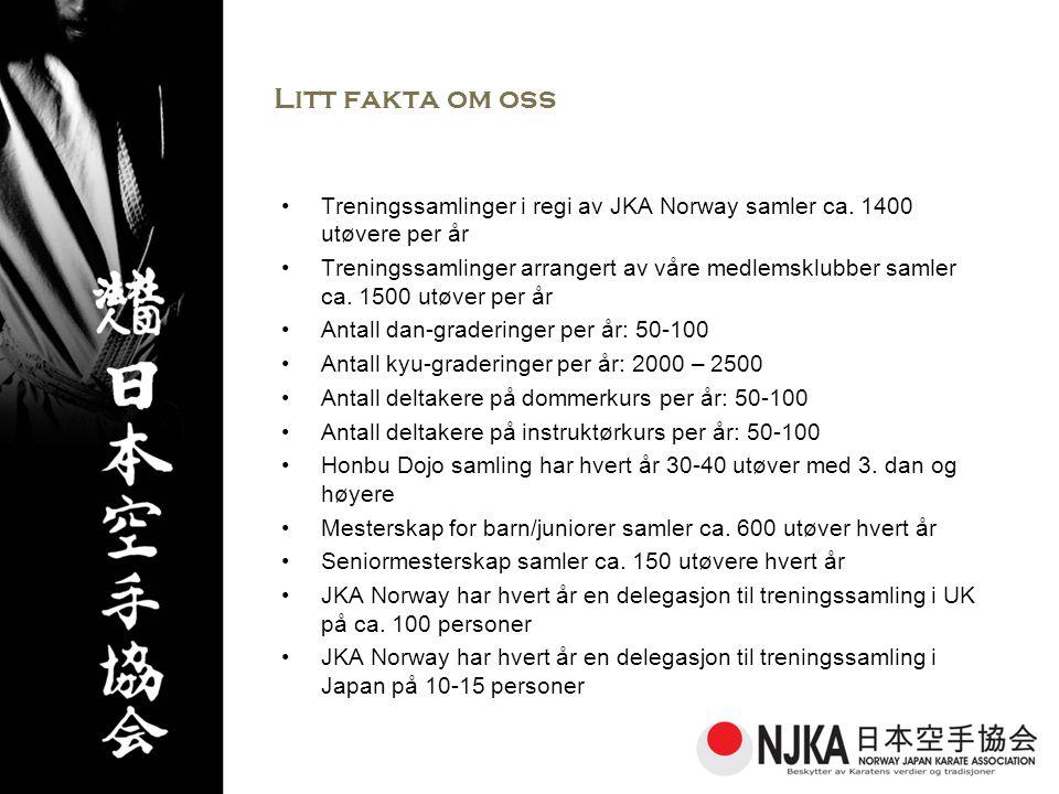 Litt fakta om oss Treningssamlinger i regi av JKA Norway samler ca. 1400 utøvere per år.