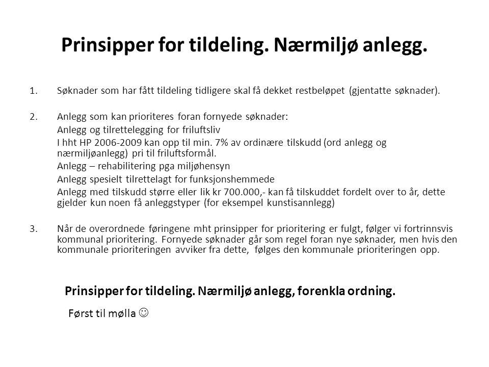 Prinsipper for tildeling. Nærmiljø anlegg.